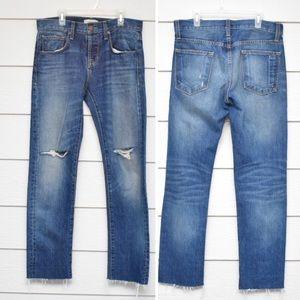 Current/Elliott Medium Wash Mid Rise Crop Jeans